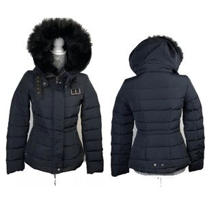 ZARA Basic Hooded Jacket Down Winter Coat